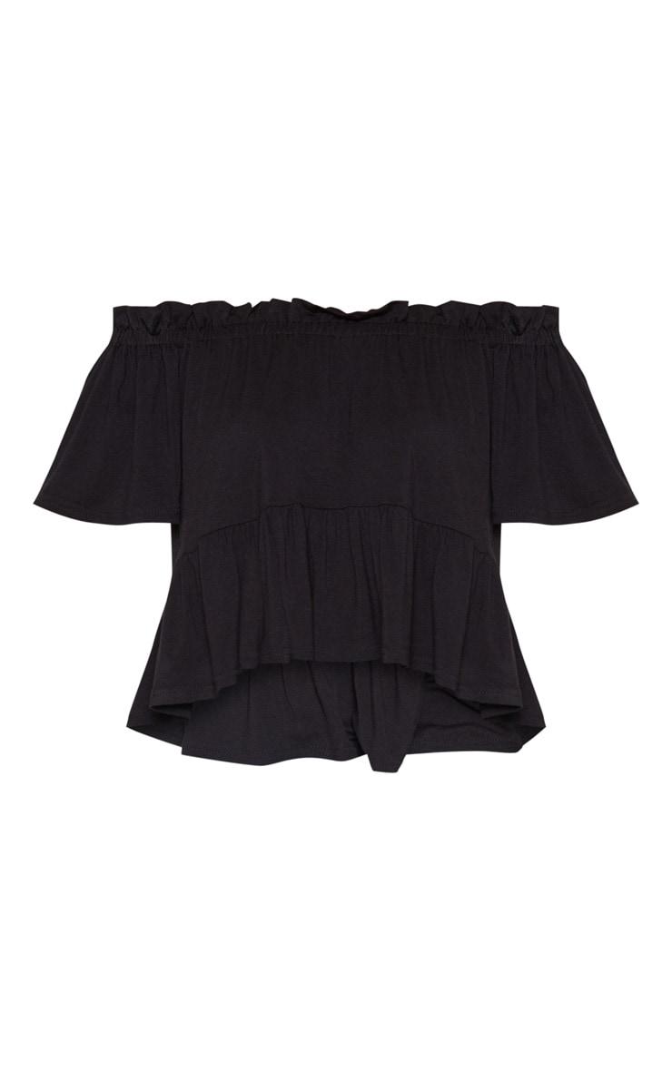 Petite Black Frill Bardot Top 3