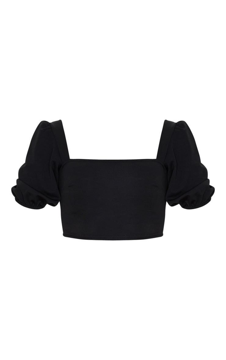 Black Scuba Short Puff Sleeve Crop Top 3