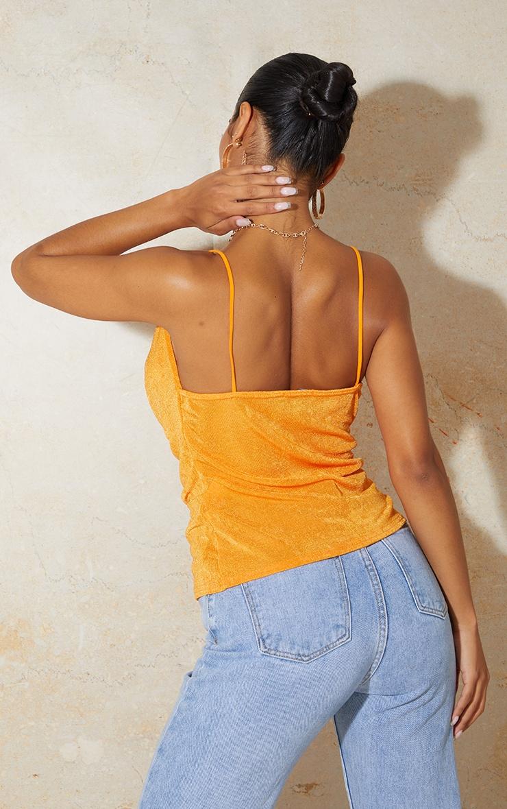 Orange Shimmer Slinky Cowl Neck Cami 2
