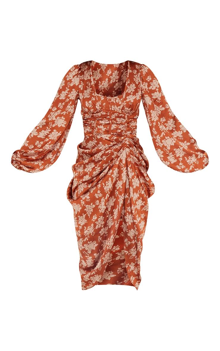 Rust Floral Print Satin Cup Detail Draped Midi Dress 5