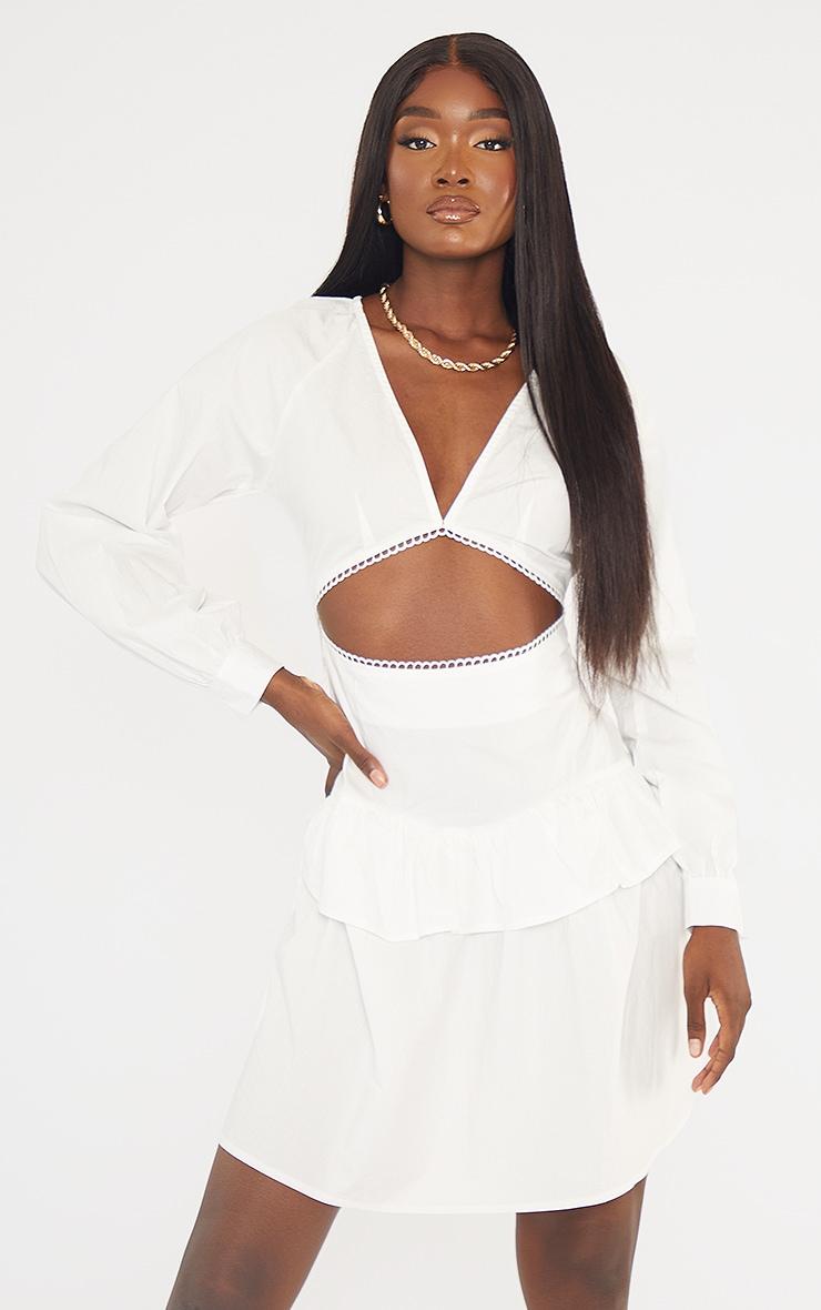 Tall White Cut Out Frill Detail Poplin Dress 1