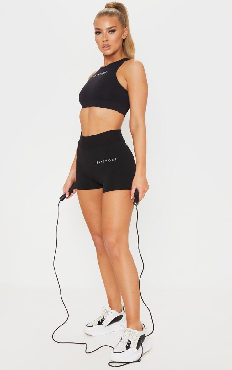 PRETTYLITTLETHING Black Sport Ribbed Waist Shorts 4