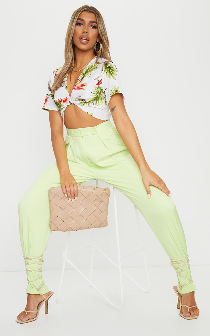 White Tropical Chiffon Twist Front Short Sleeve Top 3