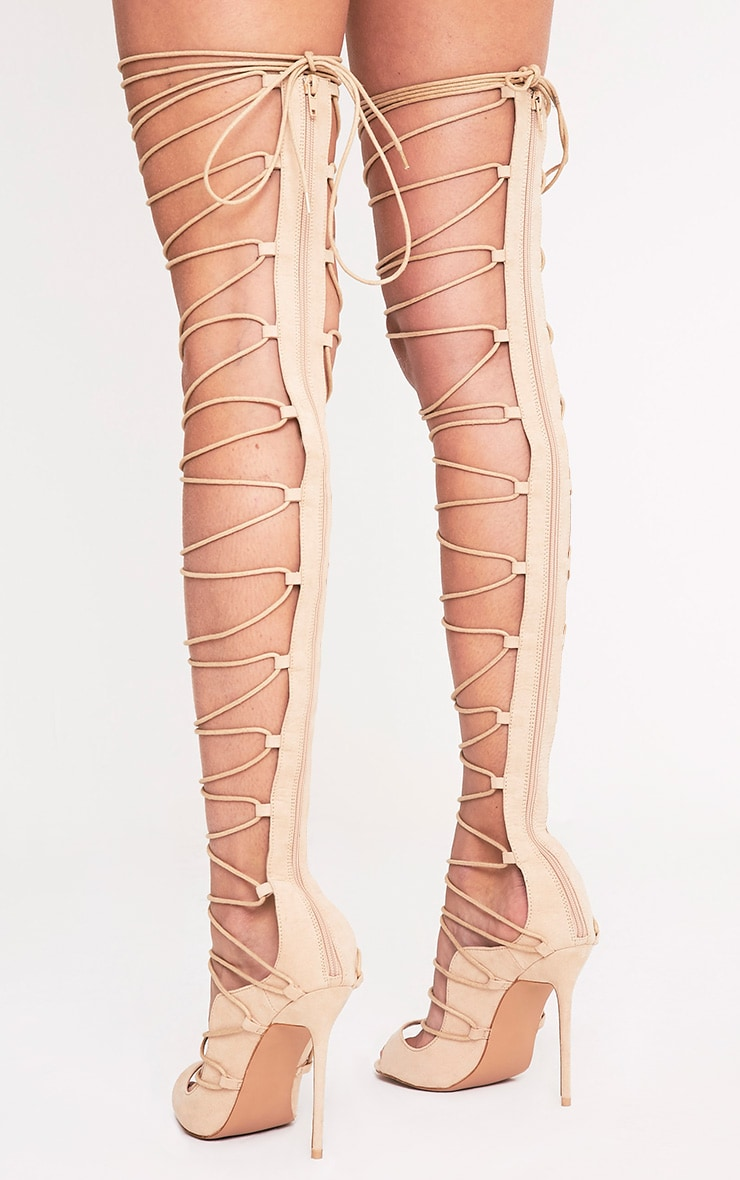 ec20a6f5712f Colleen Nude Thigh High Lace Up Heeled Sandals image 4