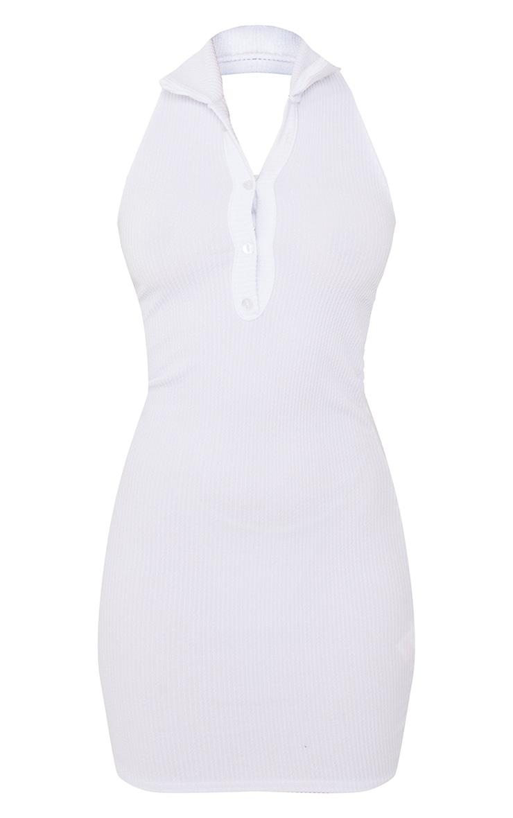 Petite White Rib Halterneck Button Detail Bodycon Dress 5