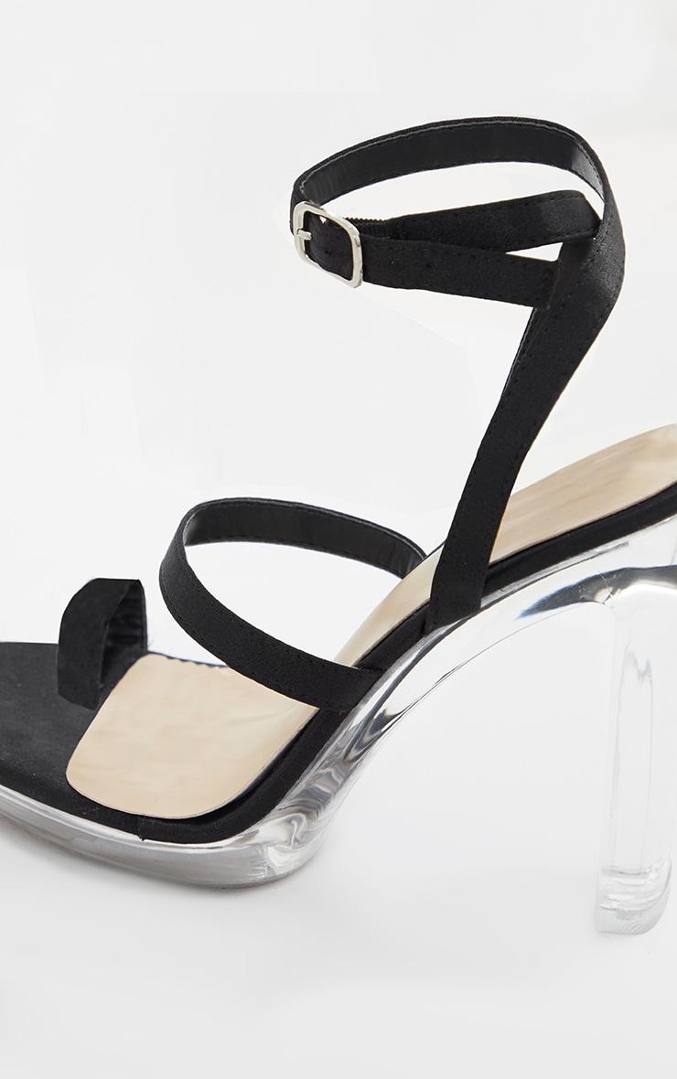Black Clear Toe Loop Platform Sandal 3