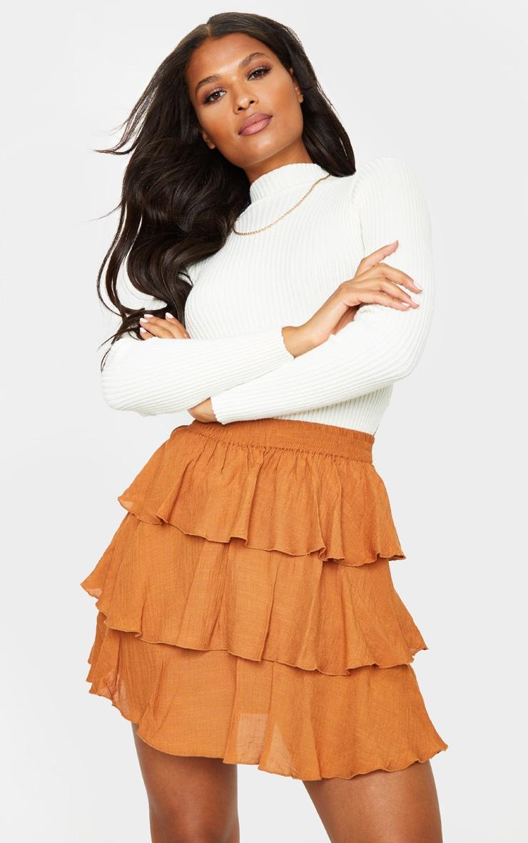 Rust Woven Tiered Ruffle Skirt 4