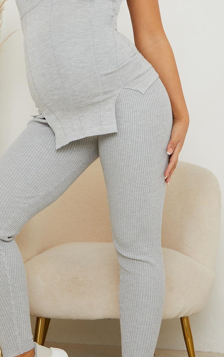 Maternity Grey Bump Shaping Knitted Wide Rib Leggings 4
