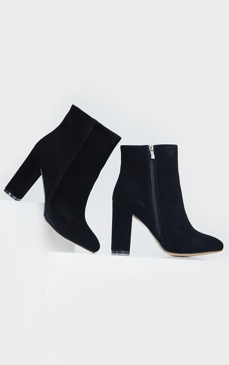 Black Wide Fit Behati Block Heeled Ankle Boot 4