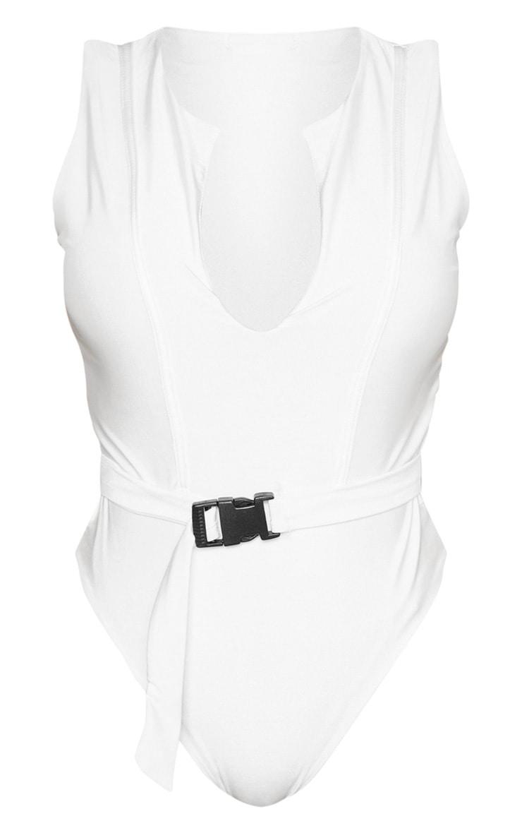 Shape White V Neck Buckle Waist Swimsuit 3