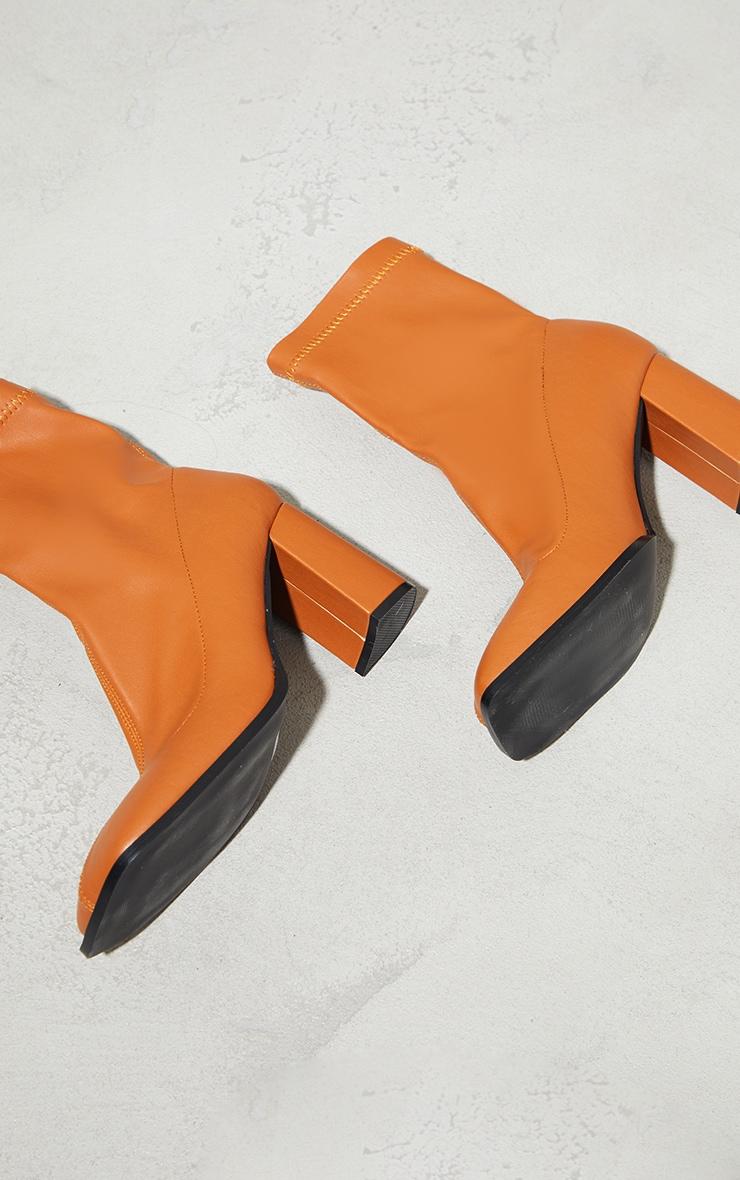 Camel PU Toe Edge Square Toe Heeled Ankle Sock Boots 4