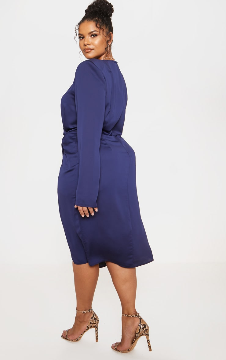 Navy Drape Pleated Detail Midi Dress 3