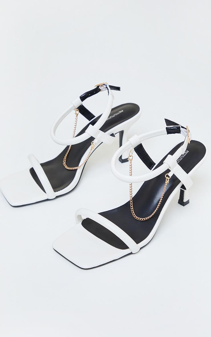 White PU Tubular Strap Chain Trim Kitten Heeled Sandals 3