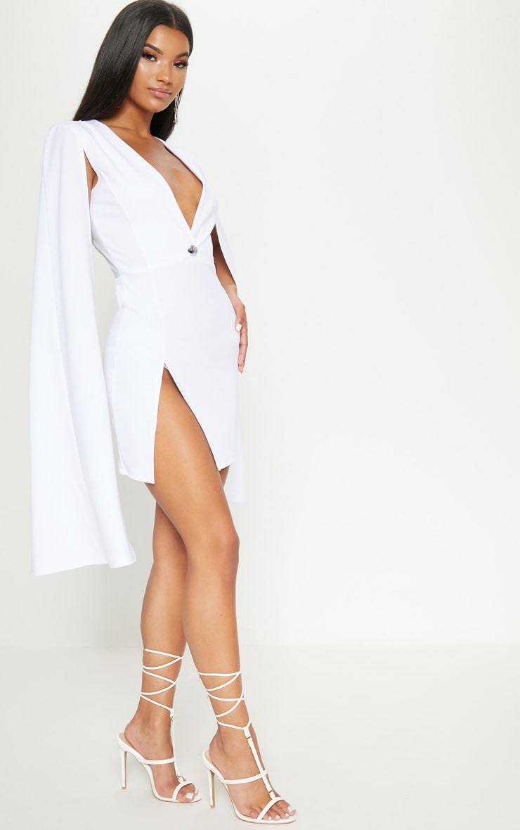 White Cape Blazer Dress 4