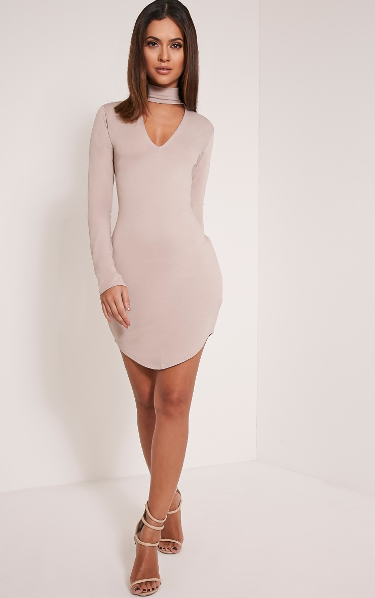 Arianna Taupe Crepe Choker Detail Bodycon Dress 5