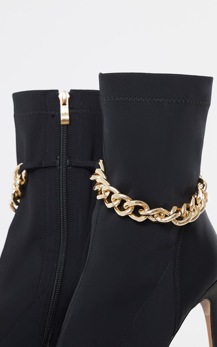 Black Lycra Point Toe Chain Detail Sock Heeled Boots 4