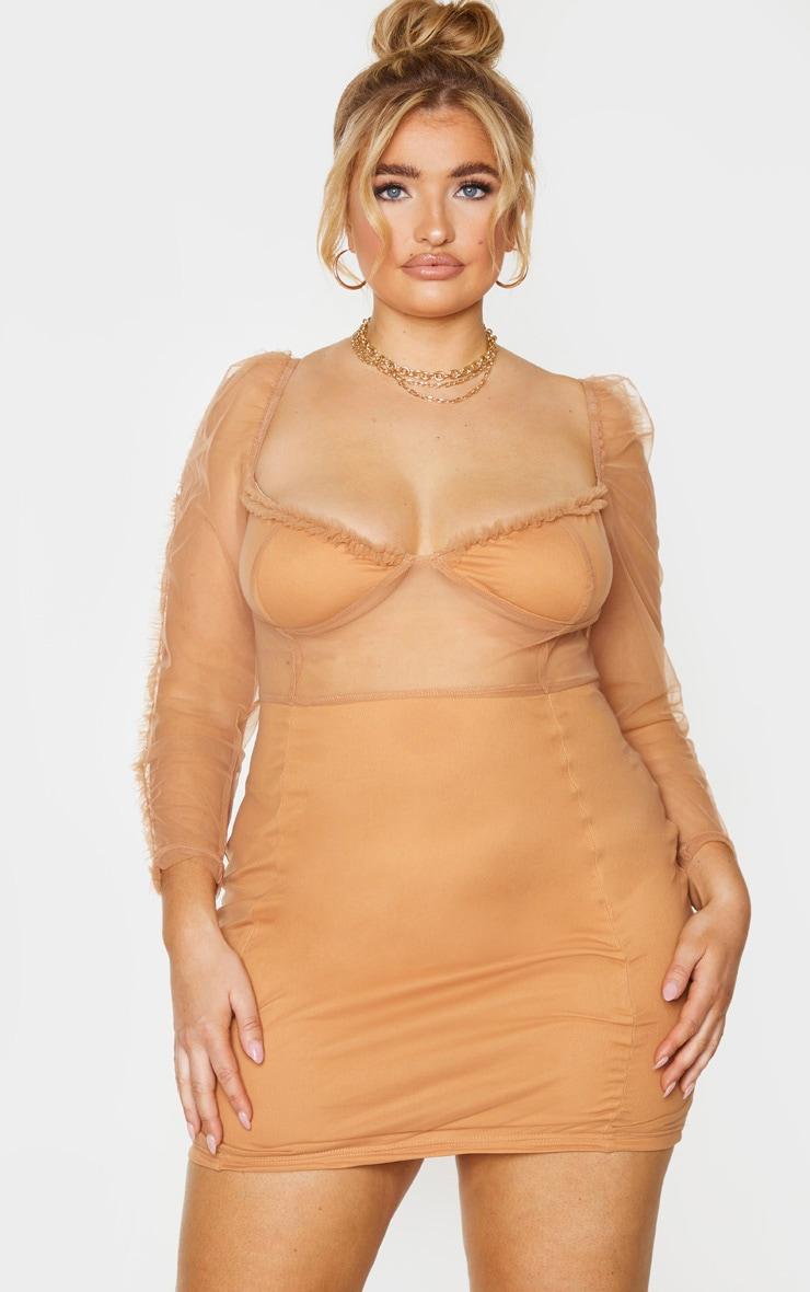 Plus Camel Mesh Frill Detail Long Sleeve Bodycon Dress 1