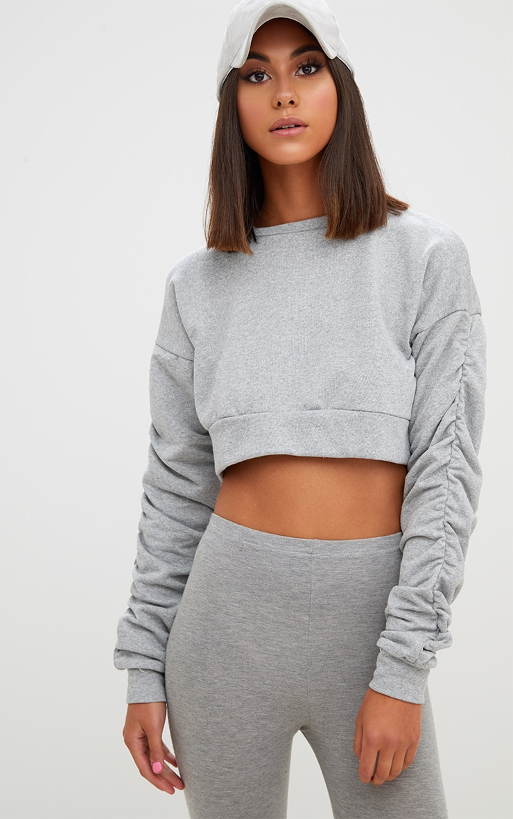 Grey Ruched Sleeve Oversized Cropped Sweater 1