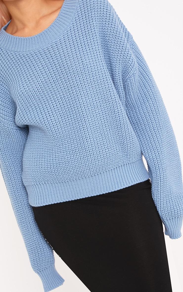 Cara Dusty Blue Cropped Knit Jumper 5