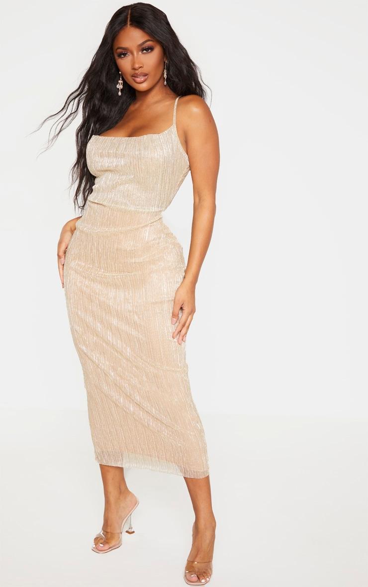 Shape - Longue robe dorée plissée à col bénitier  5