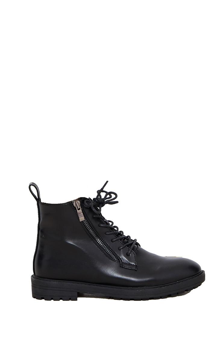 Black Side Zip Hiker Boot 4