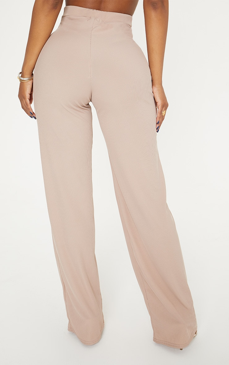 Shape Stone Ribbed High Waist Wide Leg Trousers 4