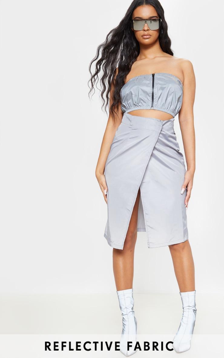 Grey Wrap Over Shell Midi Skirt 1