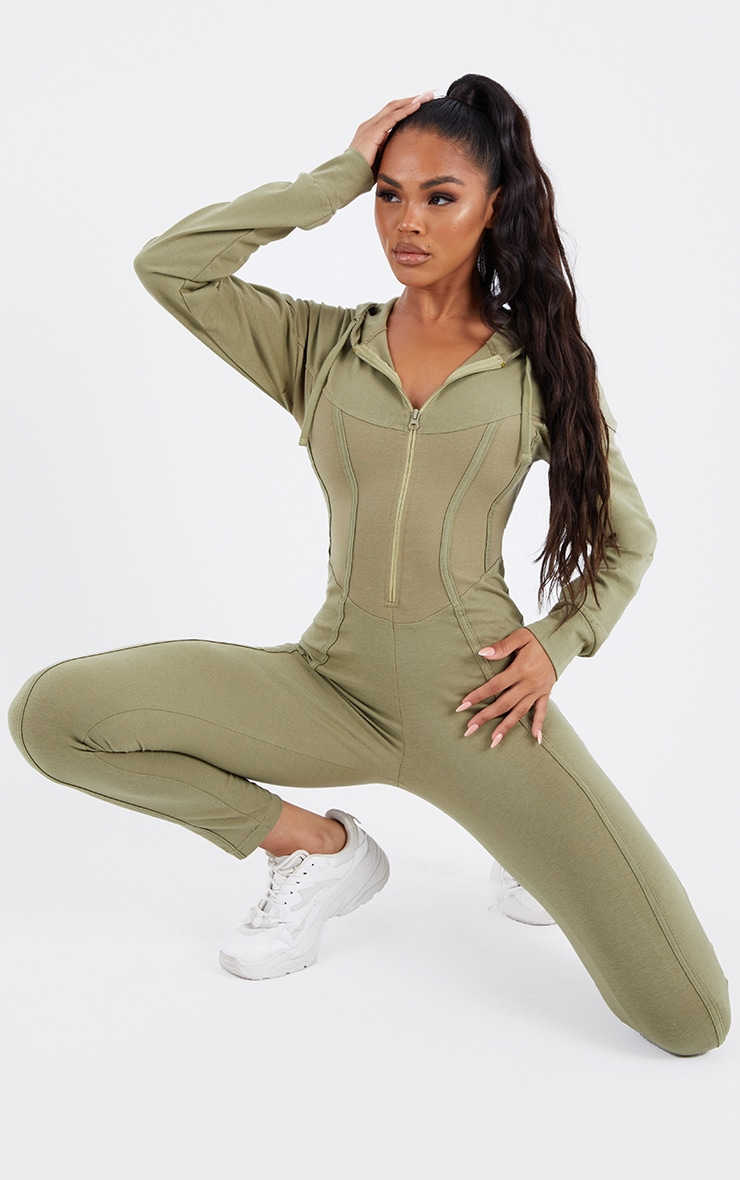 Khaki Corset Detail Long Sleeve Hooded Jumpsuit 1