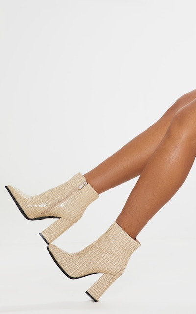 Nude Croc Point Ankle Boot