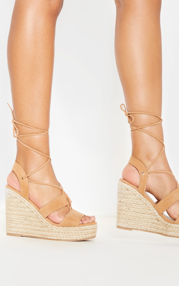 Tan Ghillie Lace Up Espadrille Wedge 2