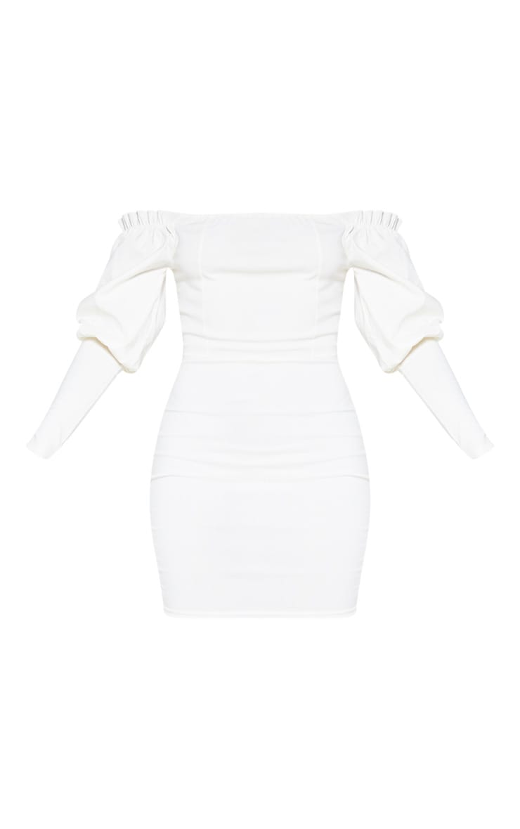 Cream Woven Bardot Frill Detail Bodycon Dress 3