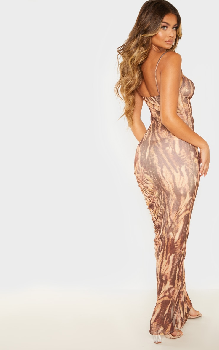 Brown Printed Mesh Ruched Maxi Dress 2