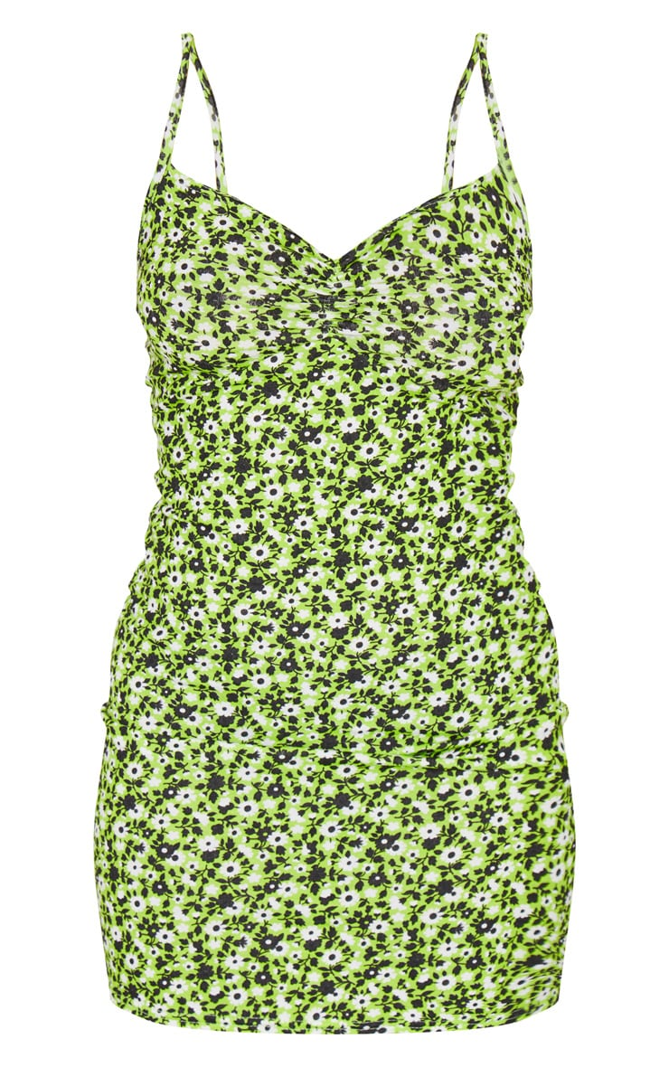 Petite Green Ruched Front Strappy Neon Floral Mini Dress 5