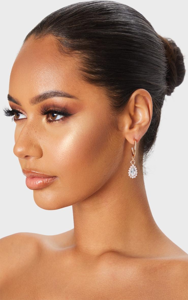 Gold Mini Hoop And Diamante Charm Earrings 1