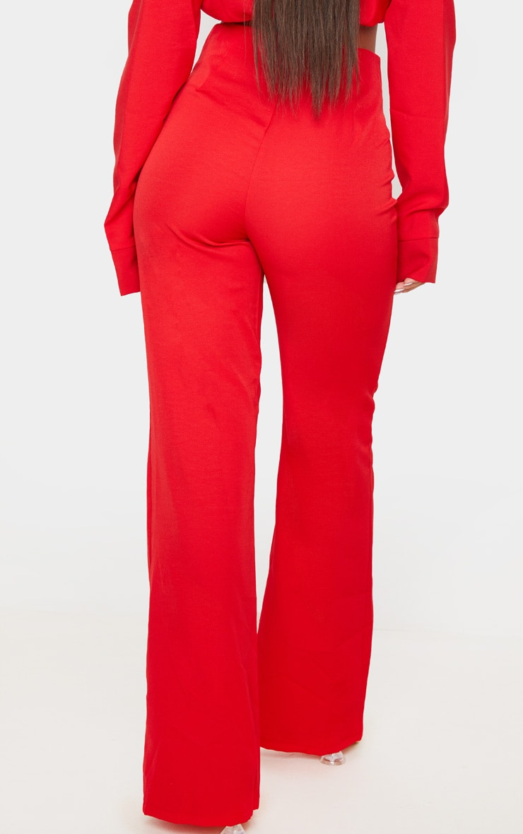 Red Woven Seam Detail Straight Leg Trousers 4