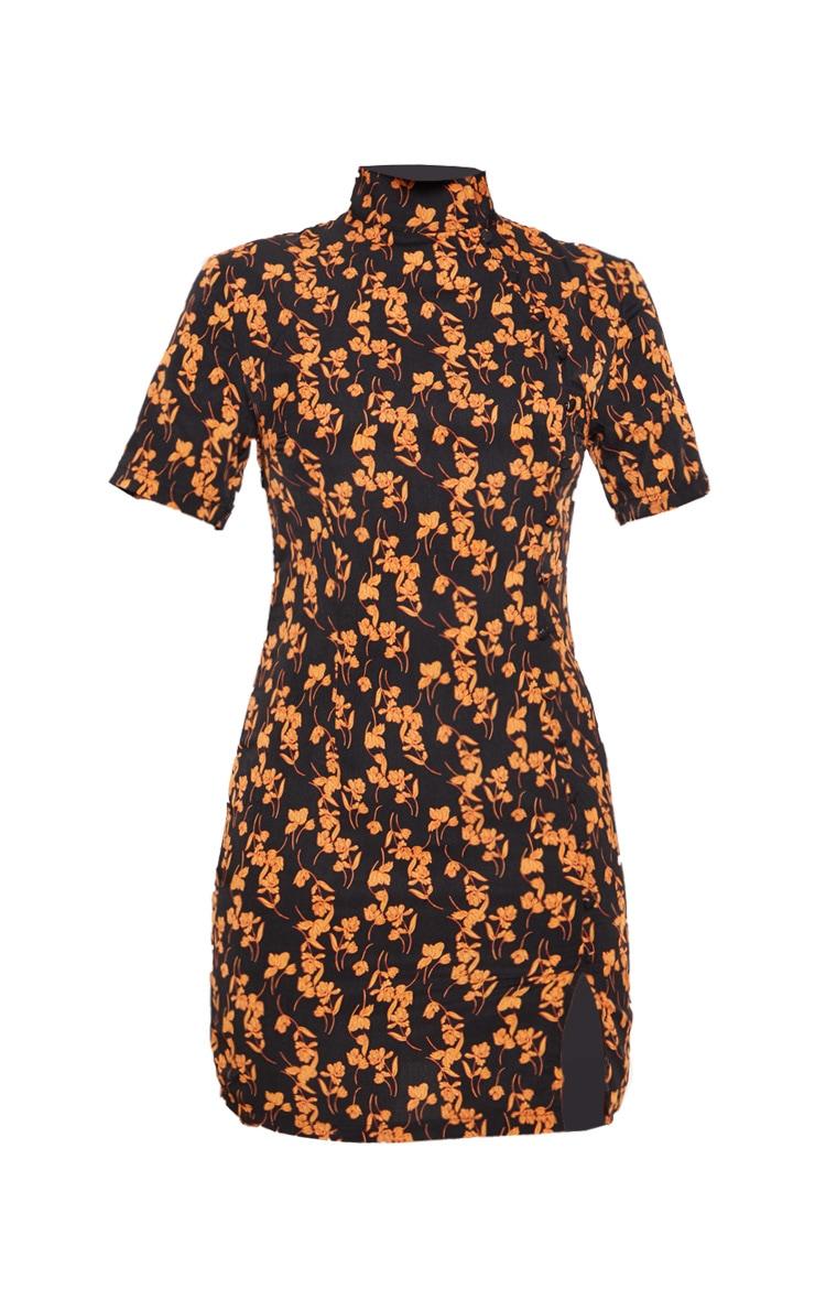 Black Satin Floral Print Button Detail Bodycon Dress 3