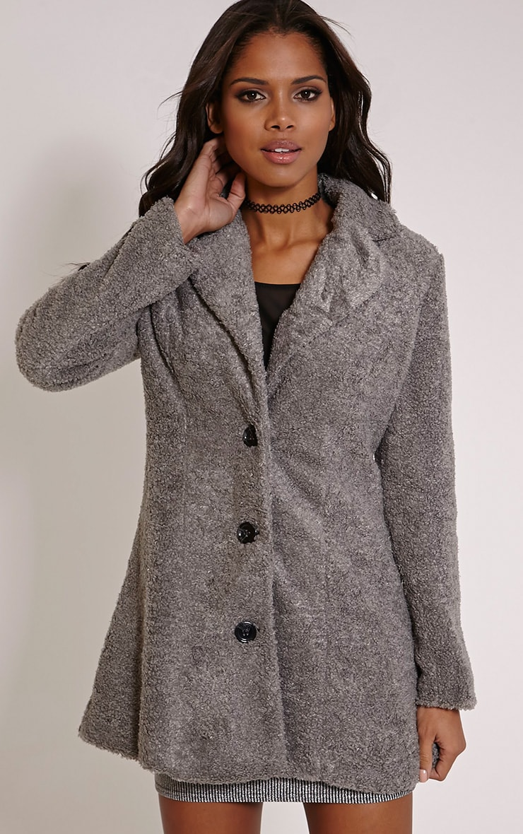 Louise Grey Bobble Knitted Coat 4