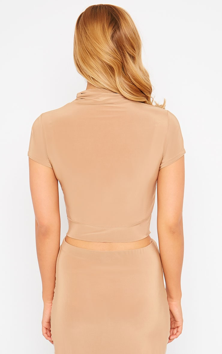Gina Camel Slinky Ruched Detail Crop Top 2
