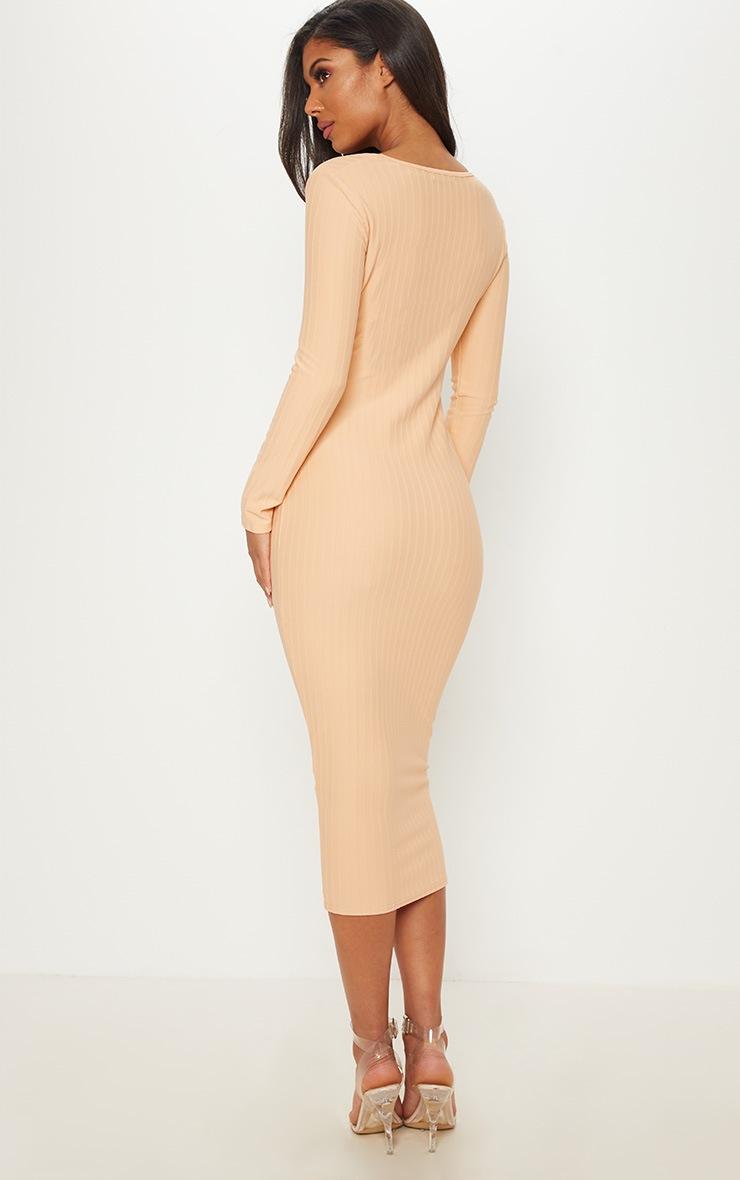 Nude  Bandage Long Sleeve Cut Out Midaxi Dress 2