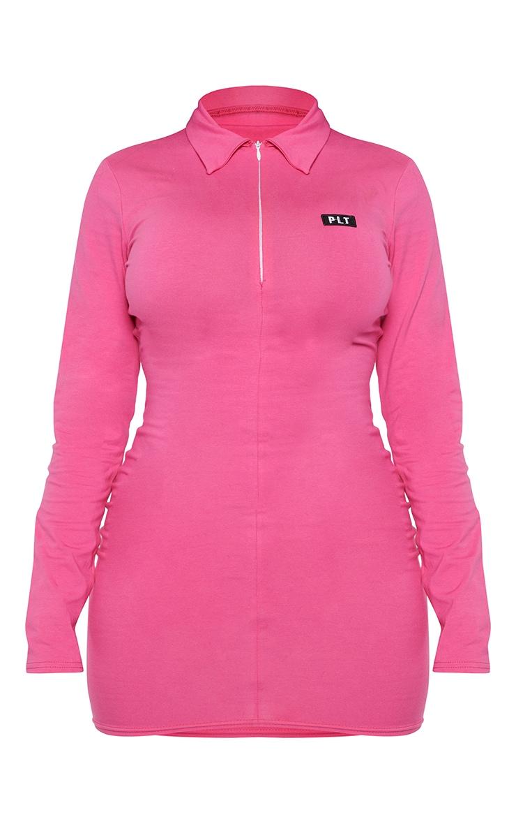 PRETTYLITTLETHING Shape Hot Pink Cotton Collar Bodycon Dress 5