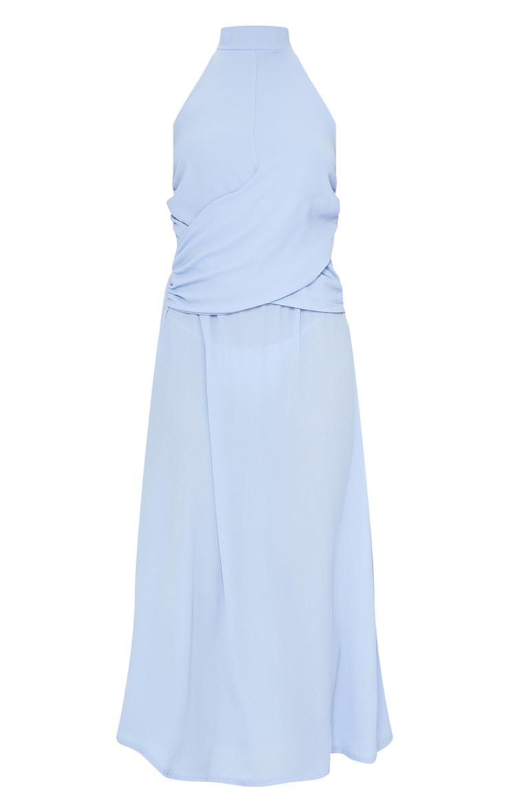 Dusty Blue Halterneck Wrap Front Maxi Dress 5