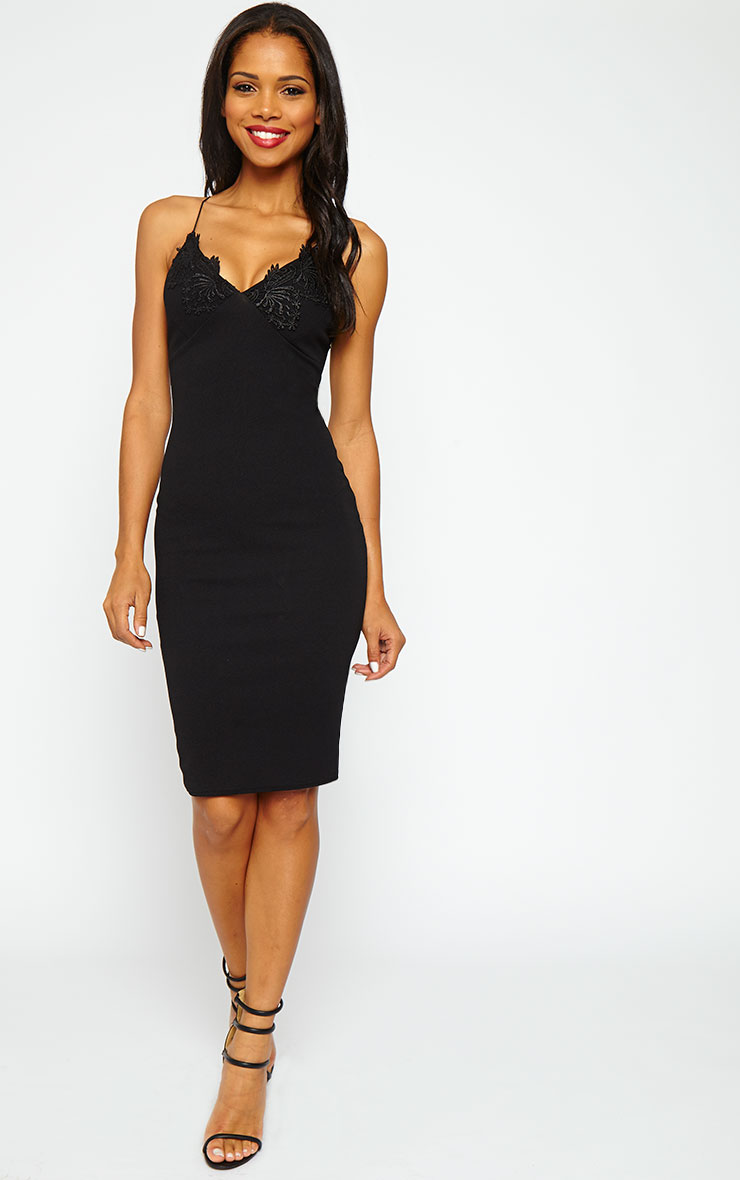 Nola Black Lace Applique Midi Dress 1