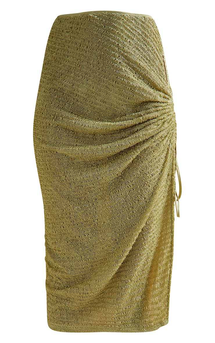 Green Textured Cut Out Ruched Side Beach Skirt 5