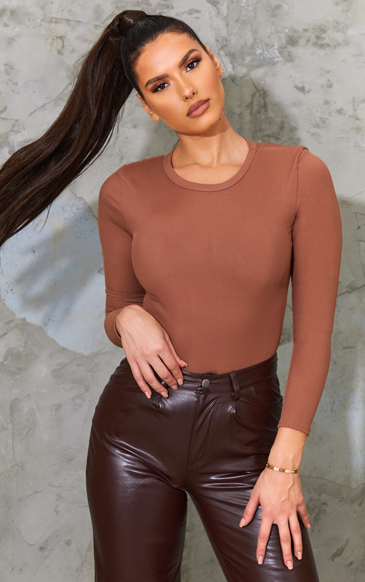 Tall Chocolate Ribbed Shoulder Pad Long Sleeve Bodysuit 1