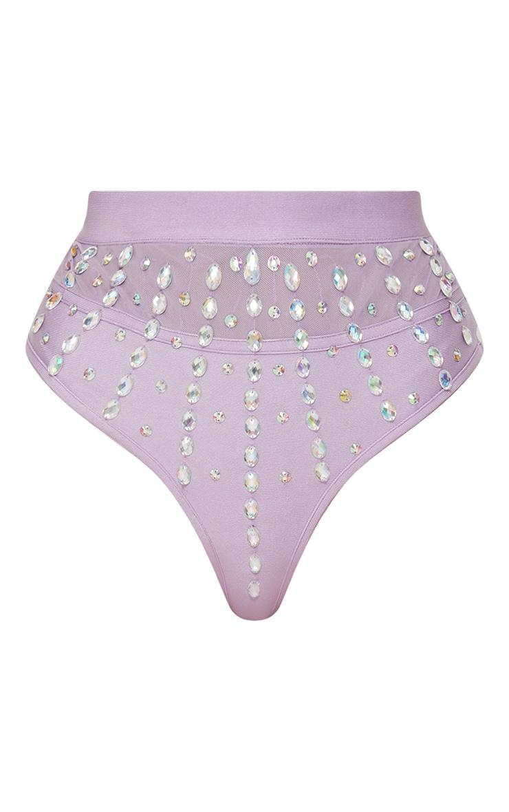 Premium - Bas de maillot lilas style bandage à pierres irisées 4