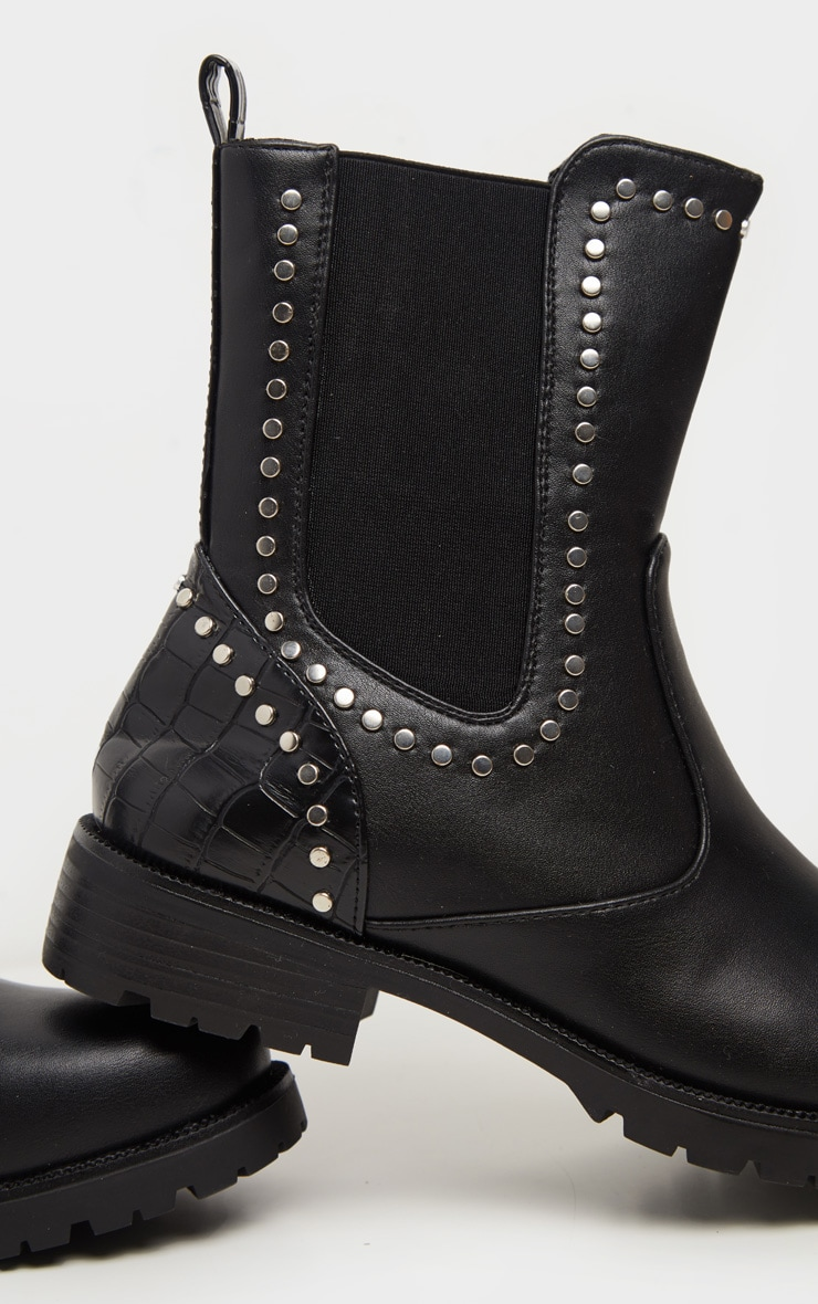 Black Studded Chelsea Cleated Biker Boot 3