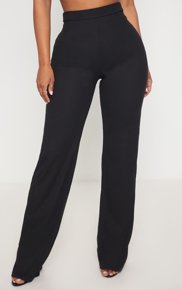 Shape Black Ribbed Wide Leg Trousers 2