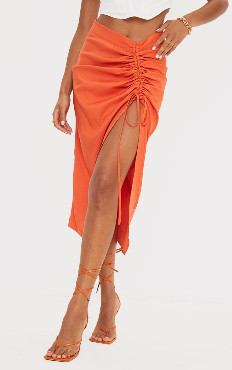 Burnt Orange Woven Ruched Detail Midi Skirt 2