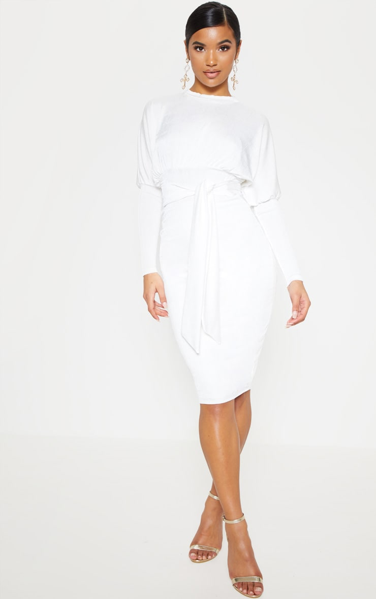 White Balloon Sleeve Tie Waist Midi Dress 1
