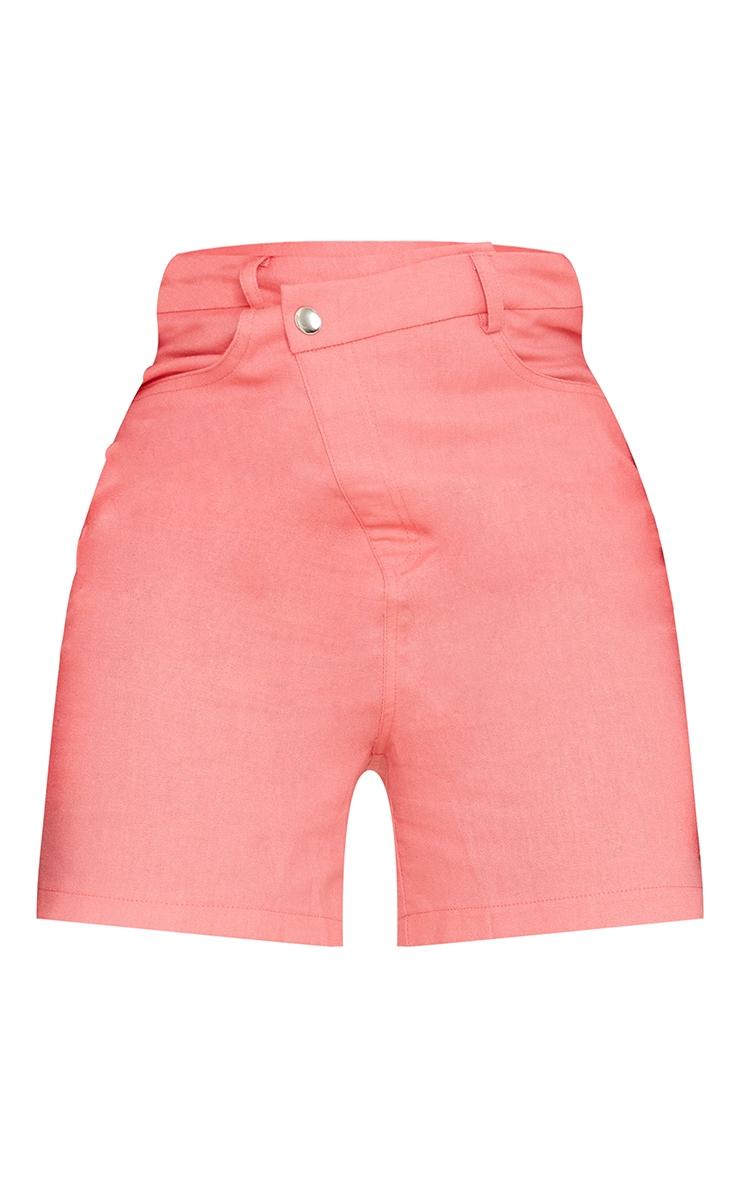 Tall Coral Linen Look Asymmetric Shorts 6